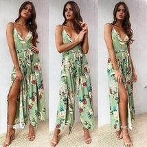 Boho Floral Print Spaghetti Strap Backless Women  Wide Leg Side Split Jumpsuit image 2