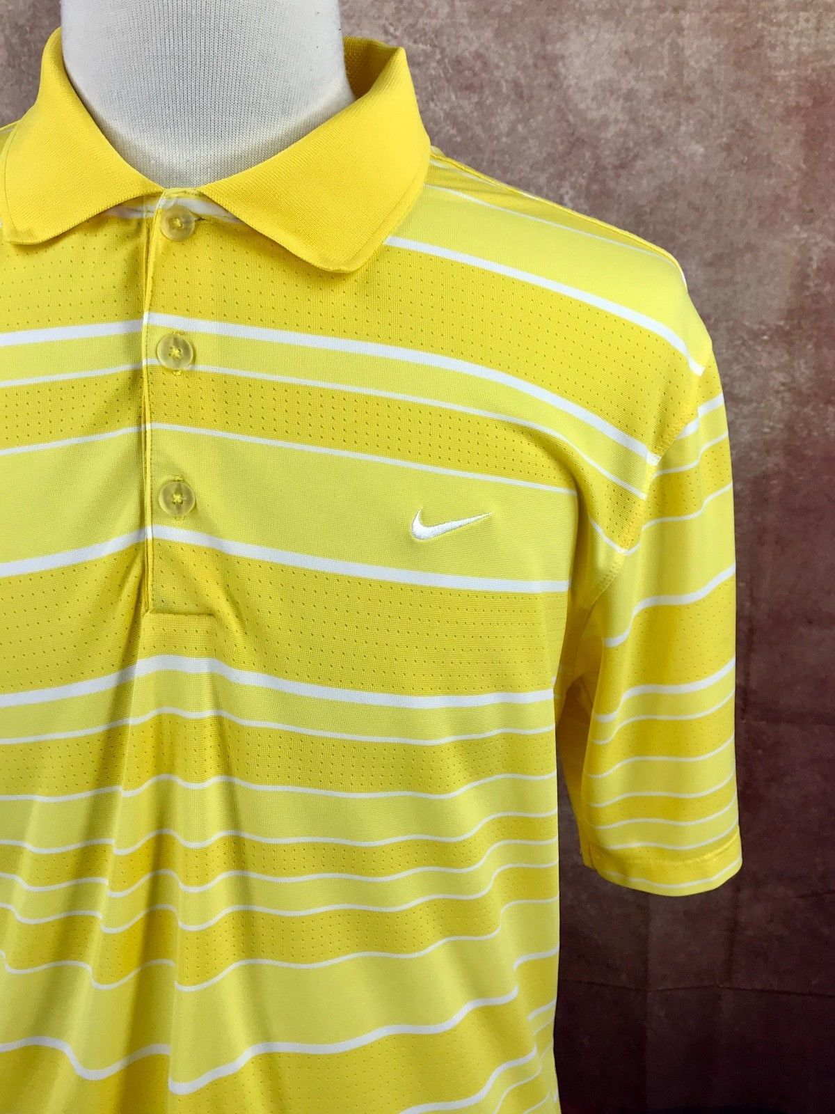 dcf9a94c7 Nike Golf Tour Performance Dri-Fit Short Sleeve Yellow Stripe Polo Shirt  Men's L