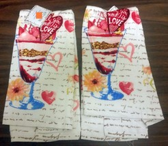 "2 Same Printed Kitchen Towels (15""x25"") Love Cocktail, All You Need Is Love, Am - $10.88"