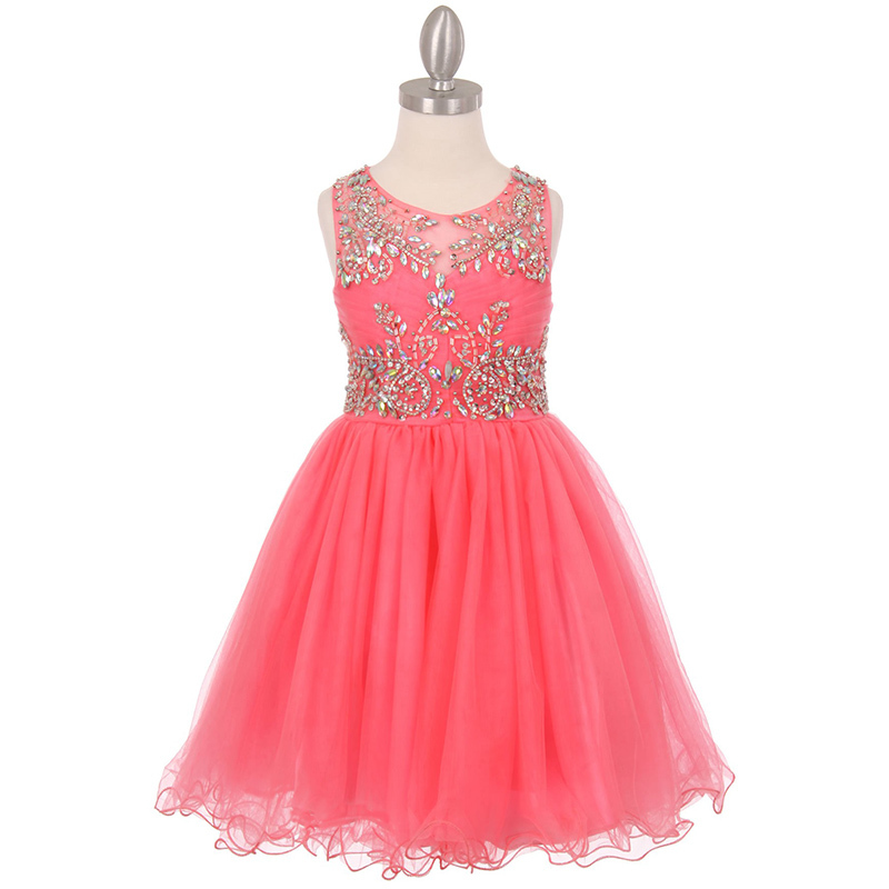 Primary image for Coral Unique Design AB Stone Bodice Open Back Tulle Wired Skirt Girl Dress