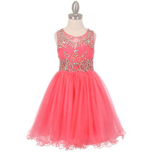Coral Unique Design AB Stone Bodice Open Back Tulle Wired Skirt Girl Dress - $90.95+
