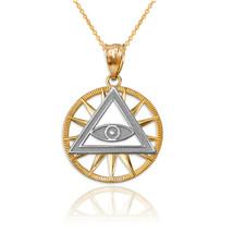 10K Two-Tone Yellow Gold Eye of Providence Illuminati Charm Necklace - $64.99+