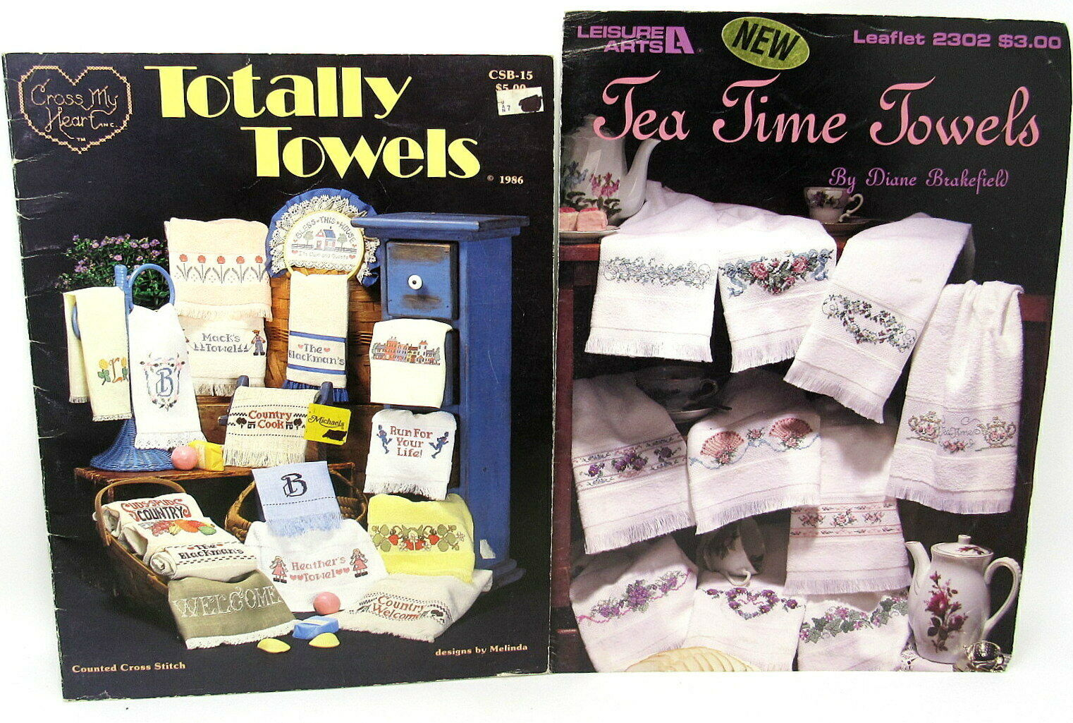 Tea Time and Totally Towels Counted Cross Stitch 2 Instructions Booklets - $9.89