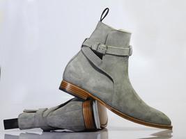 Handmade Men's Gray Suede High Ankle Monkstrap Jodhpurs Boots image 3