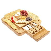 Gift Set Bamboo Cheese Board with Cutlery Knife Set, Wood Platter and Se... - £38.96 GBP