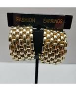 Large Half Hoop Basket Weave Gold Tone Clip On Earrings - $15.83