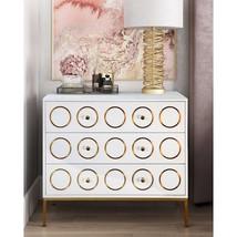 NEW Anthropologie Replica Rondure Dresser Chest White Gloss Glam Gold Ac... - £777.24 GBP