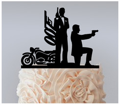 Wedding,Birthday Cake topper,Cupcake topper,silhouette James Bond 007 : ... - $20.00