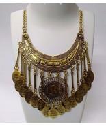 Necklace Bib Fringe Chain Gold Oxidized Jewelry Ethnic Boho Fusion India... - $11.87