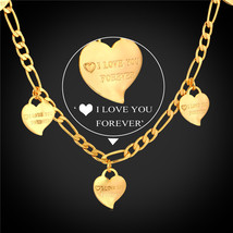 Heart lace 18K Stamp Real Gold Plated Figaro lace Day Gift N747 - $27.99