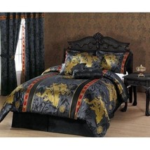 Queen Size Comforter Set 7-Pce Black Gold Red P... - $140.68