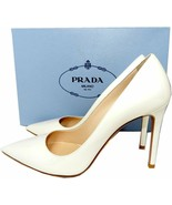 Prada White Iridescent Patent Leather Pumps Classic Pointy Toe Shoes 38.... - $299.00