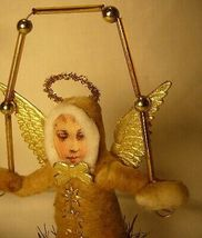 Vintage Inspired Spun Cotton Christmas Juggling Angel Ornament no.88 image 3