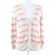Light beige pink striped linen blend ANN TAYLOR LOFT cardigan sweater M - $29.99