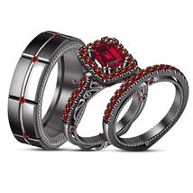 14K Black Gold Over His Her Garnet Engagement Bridal Wedding Band Trio R... - $158.99