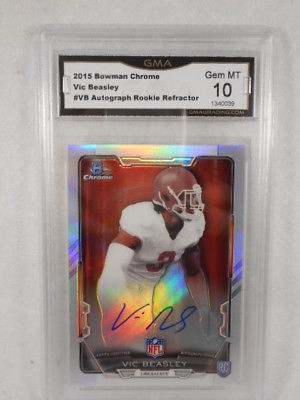 2015 Bowman Chrome #VB Vic Beasley Auto Rookie Refractor GMA Graded Gem 10