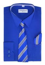 Berlioni Italy Toddlers Kids Boys Long Sleeve Dress Shirt Set With Tie & Hanky image 15