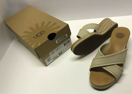 UGG Australia Women's Gwyn Size 6.5 Beige Leather Platform Wedge Sandal - ₹1,404.37 INR