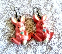 Vintage Celluloid Pink Bunny Rabbit Earrings - $6.00