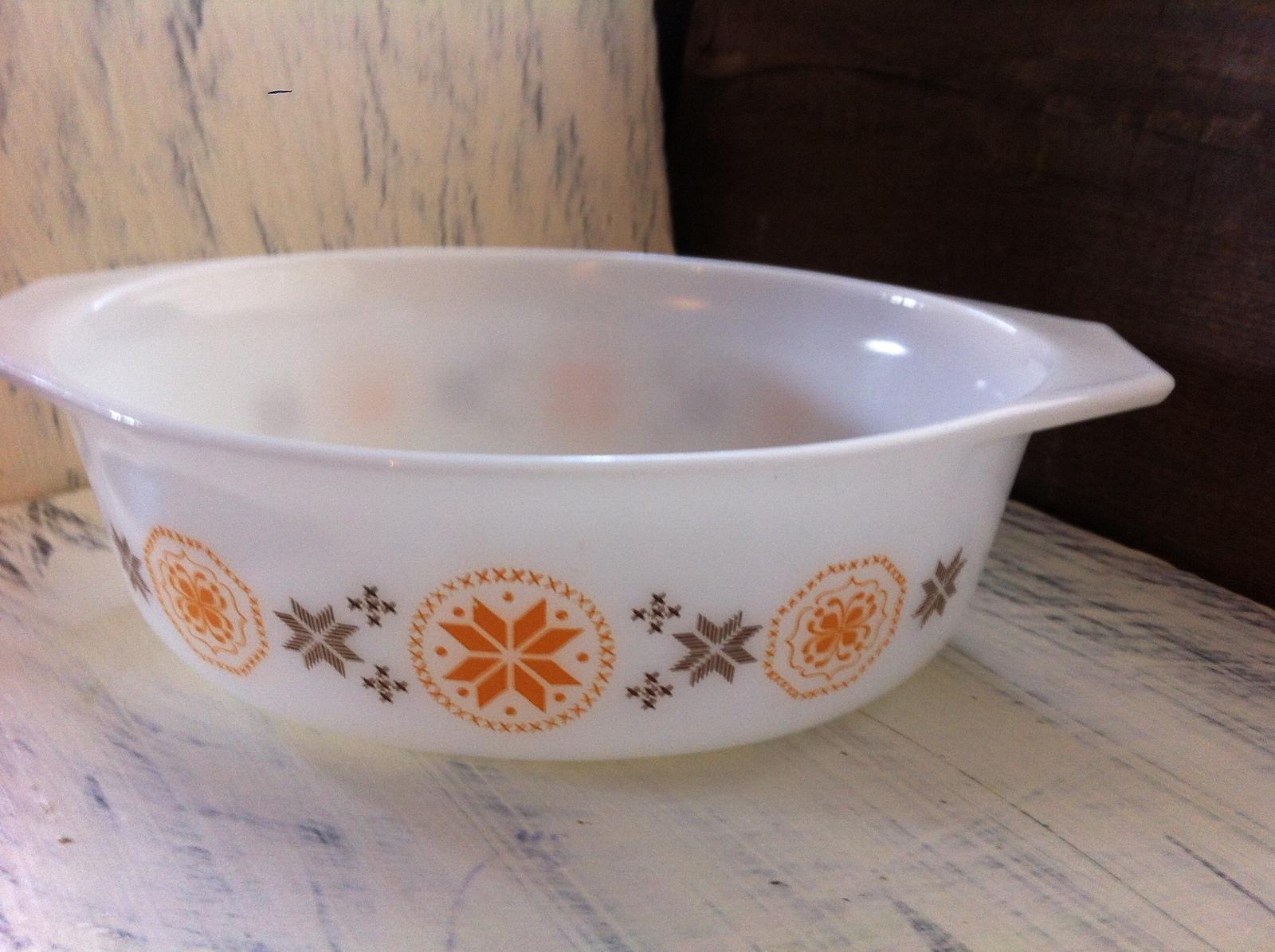 Vintage Pyrex Town & Country Brown/Orange Casserole Dish No. 043 1 1/2 qt.~ USA image 2