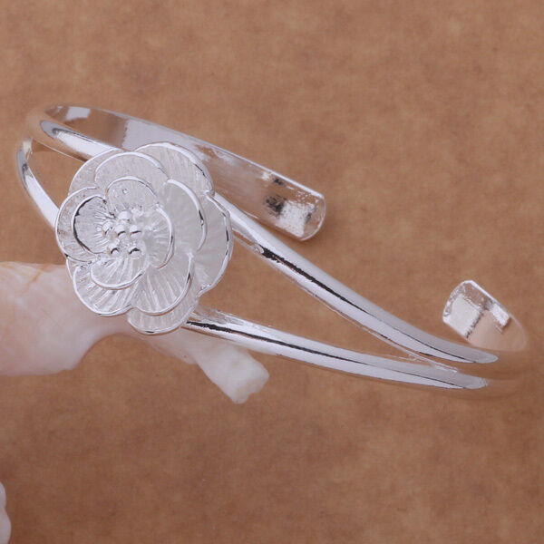 Primary image for Blooming Flower Double Wire Bangle Bracelet 925 Sterling Silver NEW