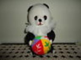 Panda Bear with Ball Knitted Handmade One of a Kind Tongue Bear - $64.60