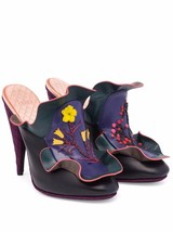 $1550 Fendi Embroidered Ruffles Mule Floral Waived Leather Clogs Shoe He... - $483.00