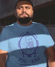 Zig Zag blue T-shirt retro vintage 70's hippie graphic printed 100% cotton tee image 3