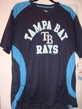 MLB TAMPA BAY RAYS TRUE FAN MEN'S LARGE NAVY POLYESTER JERSEY NEW - $17.50
