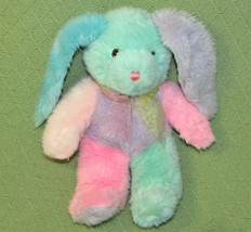 "12"" Vintage Dan Dee Pastel Bunny Stuffed Animal Color Block Bunny Pink Green + - $33.66"