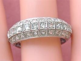 ANTIQUE 2.25ctw DIAMOND 3 ROW PLATINUM MILGRAIN ETERNITY BAND RING 1940 ... - $2,870.01