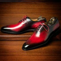 Two Tone Black Red Oxford Men's Laceup Spectator Genuine Leather Handmad... - $139.99+
