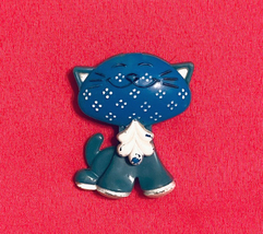 Vintage Avon Pin Pals Calico Cat fragrance glace 1973 blue kitty - $3.00