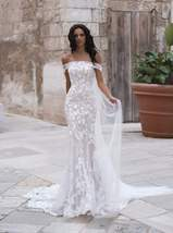 Sexy Off Shoulder Embroidered Lace Mermaid Wedding Gown with Court Train image 4