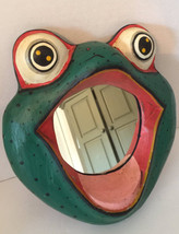 VINTAGE FROG FACE FRAMED MIRROR FOLK ART - $13.98