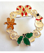 Vintage Christmas Roses Wreath Candy Canes Gingerbread Snowman Enamel Br... - $6.00