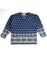 ABERCROMBIE & FITCH Thick Blue 100% Wool Nordic Knit Ski Lodge Sweater S... - $18.80