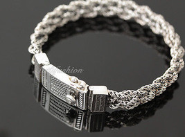 Mens Sterling Silver Bracelet Hand Crafted Woven 5 Ropes Chain Hip Hop Solid b15 image 2