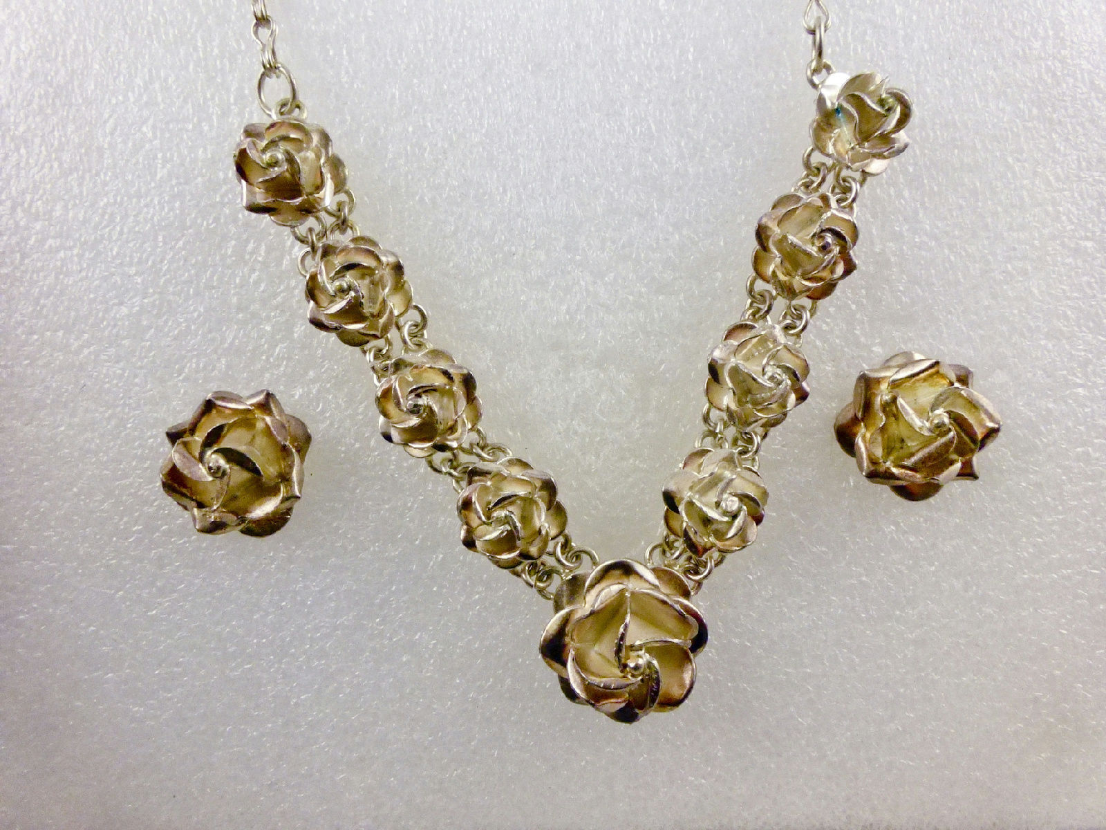 ROSE Flower Sterling Silver Earrings Necklace Jewelry Set - Vintage MEXICO