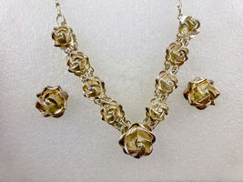 ROSE Flower Sterling Silver Earrings Necklace Jewelry Set - Vintage MEXICO - $225.00