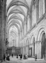 FRANCE Bayeux Cathedral Interior - SUPERB 1843 Antique Print - $18.00