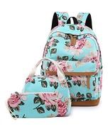 """Teens School Backpack Set, Canvas Girls Bookbags 14"""" Laptop Backpack, 3 ... - $32.57"""