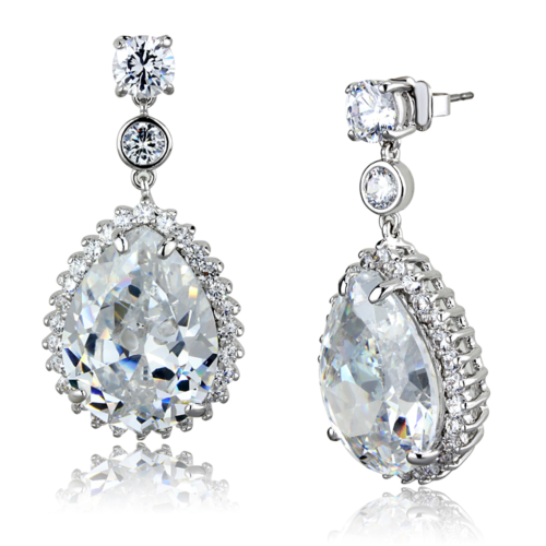 Primary image for Women's Brass AAA Grade CZ Clear Pear Dangle & Drop Earrings