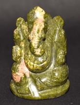 Lord Ganesha In Natural Unakite - 111 gm - $50.00