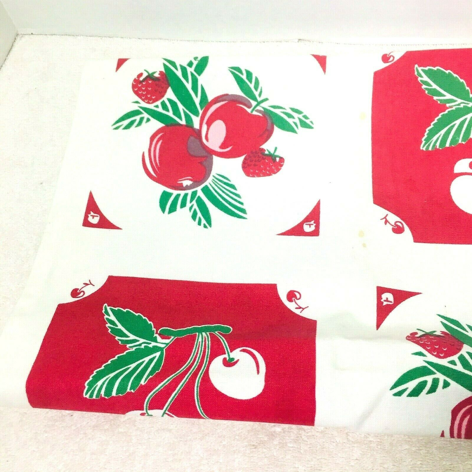 Reproduction Kitchen Toweling Towel Fabric Unsewn Red Cream Green Cherries Apple image 2