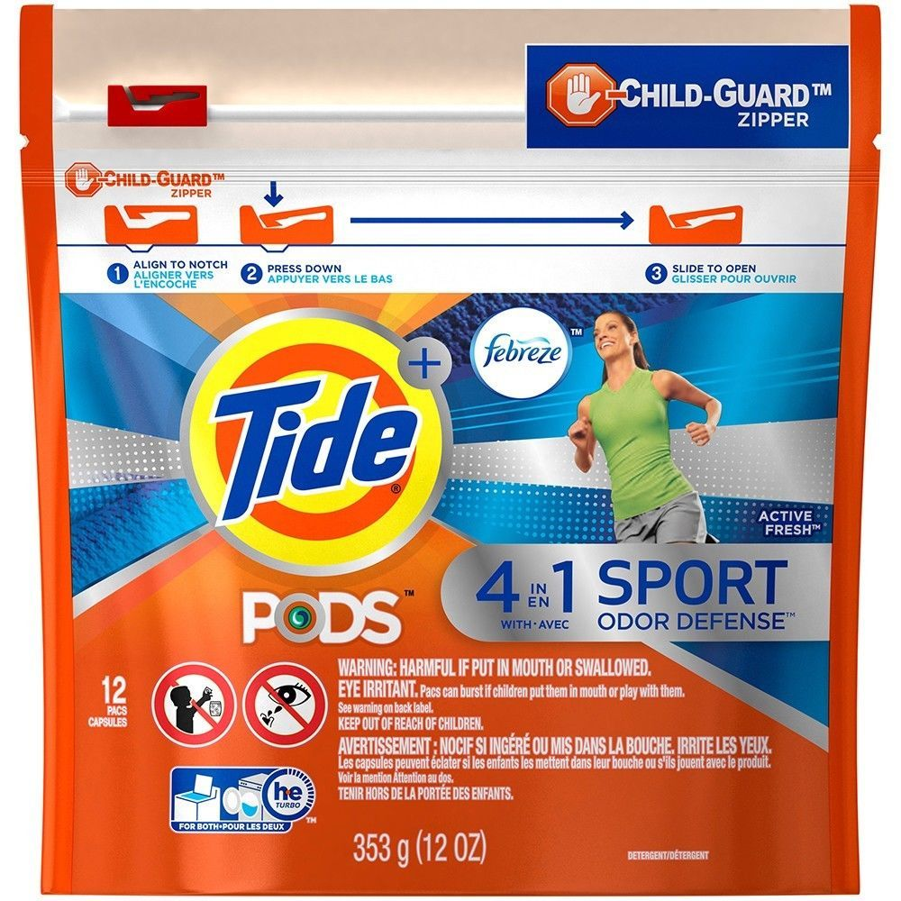 Tide Pods + Febreze 4in1 Sport Odor Defense Active 2 Packs 12 Ct Each HE Comp