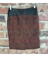 The Limited Skirt Womens Size 4 Faux Leather Band Paisley Gold Red - $17.81