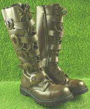 Demonia Women's Brown Leather Steampunk Knee Hi Zip Buckled Boots Size 9 - $73.97