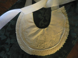 Baby's Bib, Historical Reproduction, Quilted and Hand Embroidered Cotton... - $60.00