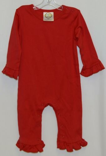 Blanks Boutique Long Sleeve Red Snap Up Ruffled Romper 12 months